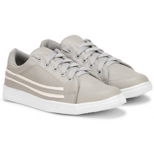 Women's Stylish and Trendy Grey Striped Synthetic Casual Sneakers