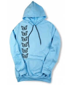 Stylish Blue Cotton Fleece Long Sleeves Printed Unisex Hoodies Unique Design Good Quality Material For Men