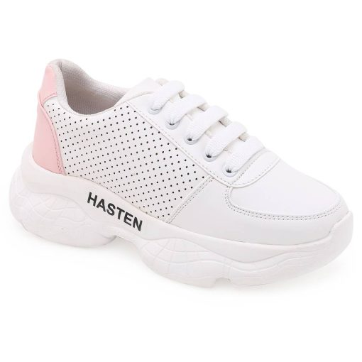 Stylish White Synthetic Leather Self Design Sneakers For Women And Girls
