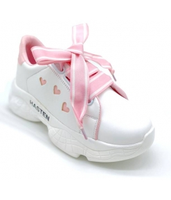 Stylish Pink Synthetic Leather Self Design Sneakers For Women And Girls