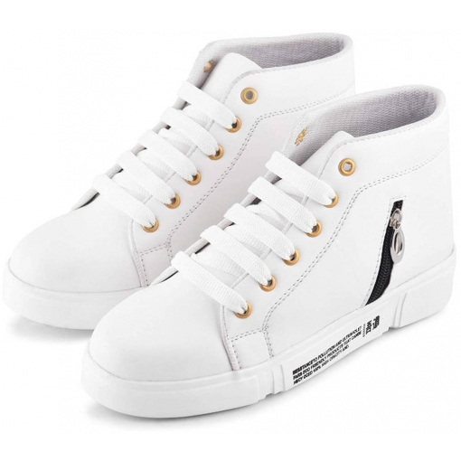 White Synthetic Leather Sneakers for Women