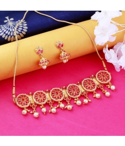 Traditional Jewellery Set For Women Girls Gold Plated Designer Necklace With Choker Set